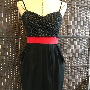 Empire black red dress, pockets, stretch size 9